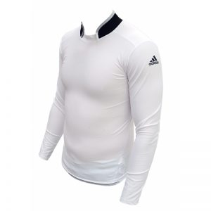 Adidas Long Sleeve Collared Compression T-Shirt – White