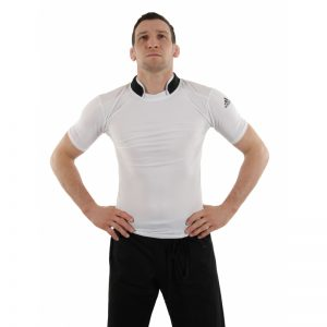 Adidas Short Sleeve Collared Compression T-Shirt – White
