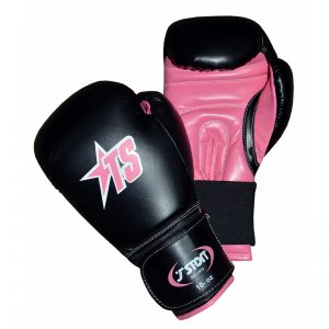 T-Sport Artificial Leather Women's Boxing Gloves – Black – Pink – 6 + 10oz